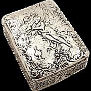 Antique Victorian Sterling Silver Trinket Box - 1895 -  Classical Scenes