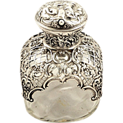 Antique Victorian Sterling Silver & Glass Perfume Bottle 1896
