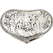 Antique Sterling Silver Heart Shape Trinket Box - 1901 - Serenading Scene