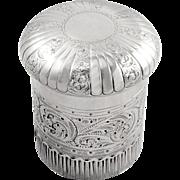 Antique Edwardian Sterling Silver Vanity Pot / Box 1905