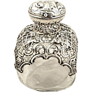 Antique Victorian Glass & Sterling Silver Perfume Bottle 1895