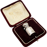 Antique Victorian Sterling Silver Perfume Bottle in Case 1894