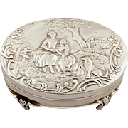 Antique Edwardian Sterling Silver Trinket Box with Country Scene 1905