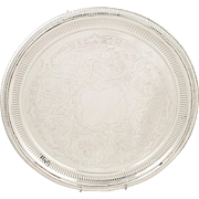 """Antique Victorian Silver Plated 12"""" Tray / Salver with Pierced Rim c1880"""