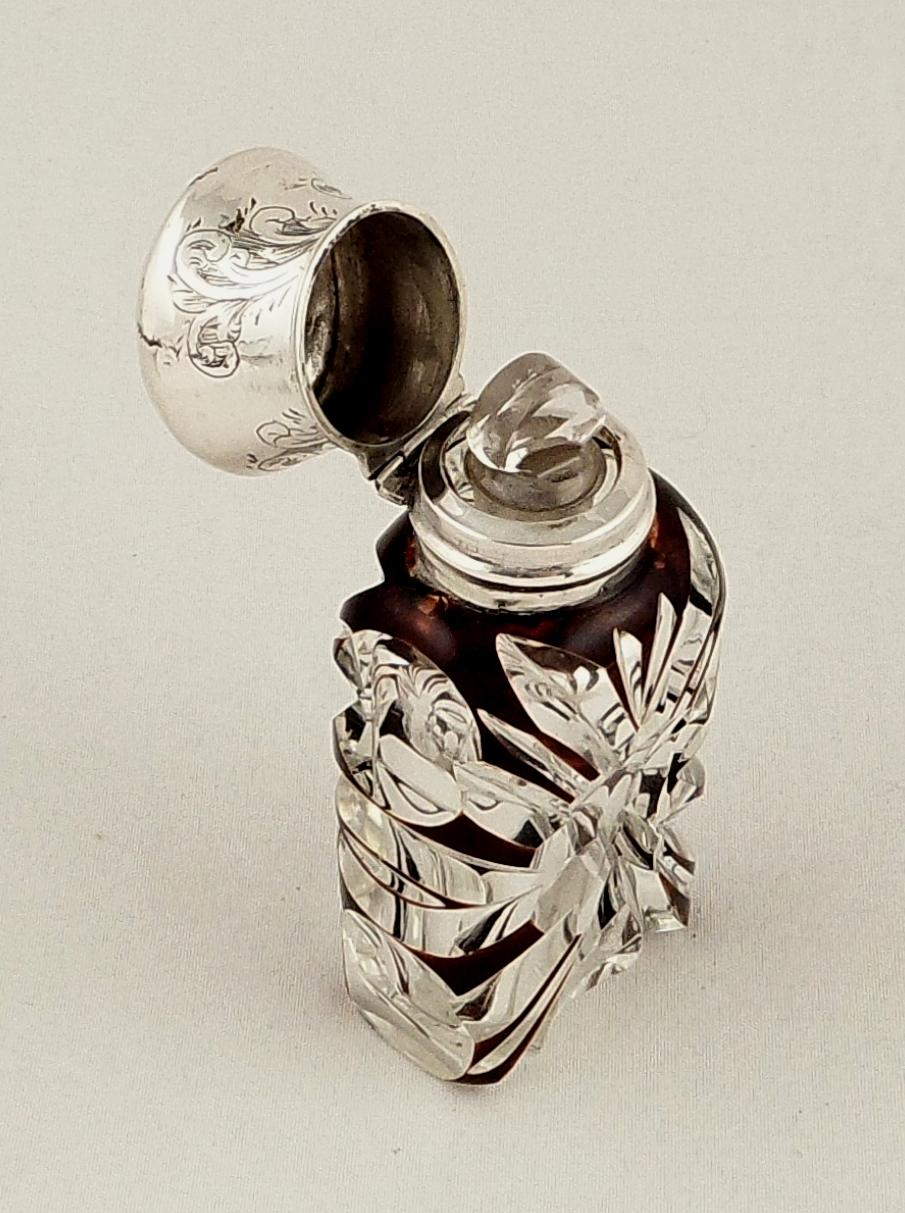 Antique Victorian Purple Overlay Amp Silver Perfume Bottle