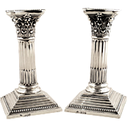 """Super Pair of Antique Sterling Silver 6 1/2"""" Candlesticks - 1903"""