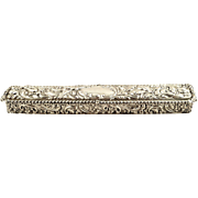 "Antique Edwardian Sterling Silver 9"" Trinket Box 1905"