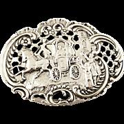 Antique Edwardian Sterling Silver Pierced Top Marriage / Wedding Box 1905