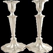 """Pr Antique Edwardian Sterling Silver 9 1/2"""" Candlesticks - Goldsmiths &  Silversmiths 1902"""