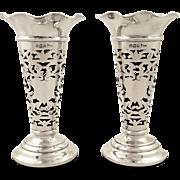 Pr of Antique Edwardian Sterling Silver Spill Vases 1907 - Walker & Hall