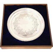 Antique Edwardian Sterling Silver Tray in Presentation Case 1908