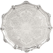 "Antique Victorian Sterling Silver 10 1/2"" Tray / Salver 1888"