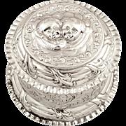 Antique Victorian Sterling Silver Trinket Box - 1877 - Cherubs