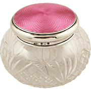 Antique Sterling Silver & Pink Enamel Vanity Jar 1930