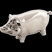 Unusual Antique Sterling Silver 'Pig' Vesta/Match Strike - 1930