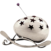 Antique Edwardian Sterling Silver Egg & Wishbone Pin Cushion 1908