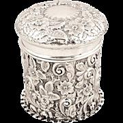 Antique Victorian Sterling Silver Vanity Pot 1898