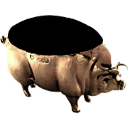 Large Antique Sterling Silver Pig Pin Cushion 1906