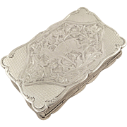 Antique Victorian Sterling Silver Snuff Box - 1893 - Stag