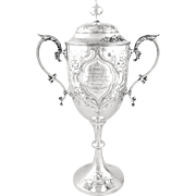 """Antique Solid Sterling Silver 12"""" Cup/Trophy 1907 - G.Co 2nd Vol.Battn PASLI - Red Tag Sale Item"""