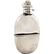 Antique Sterling Silver & Glass Hip Flask - 1913