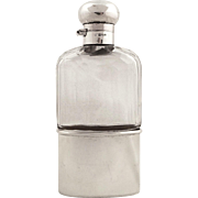 Antique Sterling Silver & Faceted Glass Hip Flask - Angels 1912