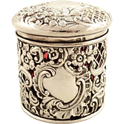 Antique Victorian Sterling Silver & Red Glass Liner Vanity Pot 1900