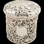 Antique Edwardian Sterling Silver Vanity Pot 1905
