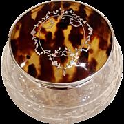 Antique Sterling Silver & Tortoiseshell Vanity Jar 1931