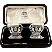 Pr Antique Sterling Silver Menu /Name Card Holders in Presentation Box - Naval Crowns