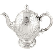 Antique Victorian Scottish Sterling Silver 'Egg' Teapot - Edinburgh 1862