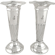 """Pair of Antique Edwardian Sterling Silver 8"""" Vases 1907"""