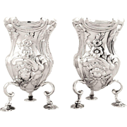 Pair of Antique Edwardian Sterling Silver Vases 1902