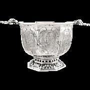 Antique German Silver Octagonal Shape Bowl - 1909 - Engraved Figures