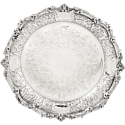 "Antique Sterling Silver 9"" Dish / Plate - 1902 - Mappin & Webb"