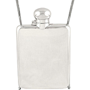 "Antique Sterling Silver 5"" Hip Flask 1914"