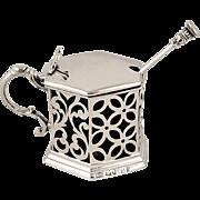 Antique Victorian Sterling Silver Pierced Mustard Pot 1842