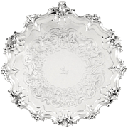 """Large Antique Victorian Sterling Silver 14"""" Tray / Salver 1841"""