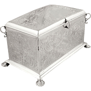 Large Antique Sterling Silver Desk Box / Jewellery Casket 1890