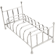 Unusual Sterling Silver Novelty 'Victorian Bed' Toastrack - Mappin & Webb