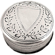 Antique Georgian Sterling Silver Patch Box 1803