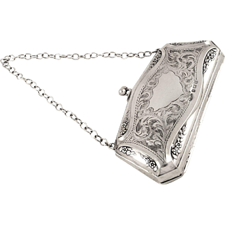 Superb Antique Sterling Silver Purse 1917