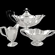 Antique Edwardian Sterling Silver 3 Piece Bachelor Teaset 1905