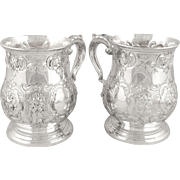 Pair of Antique Victorian Silver Plated Pint Mugs / Tankards