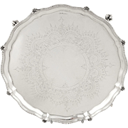 """Antique Victorian Sterling Silver 8"""" Tray / Salver 1877"""