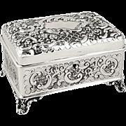 Antique Victorian Sterling Silver Desk Top Box / Jewellery Casket 1897