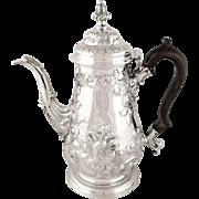 Antique Georgian Sterling Silver 2 Pint Coffee Pot 1768