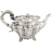 Antique Early Victorian Sterling Silver Teapot 1839