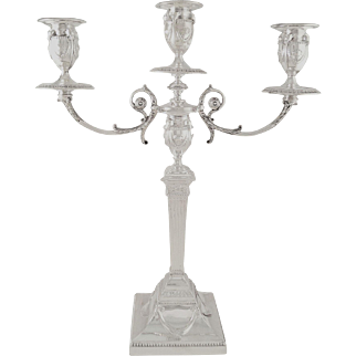 "Antique Victorian Sterling Silver 18"" Candleabra - Walker & Hall 1898"