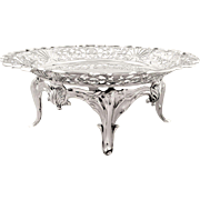 """Antique Sterling Silver Walker & Hall 10"""" Tazza / Dish 1904"""